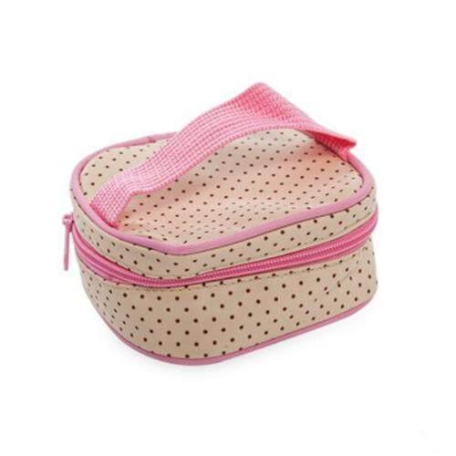 5PCS MULTIFUNCTIONAL DOT NAPPY CHANGING MUMMY HANDBAG DIAPER PAD FEEDING BOTTLE HOLDER FOOD BAG FOR BABIES (PINK)