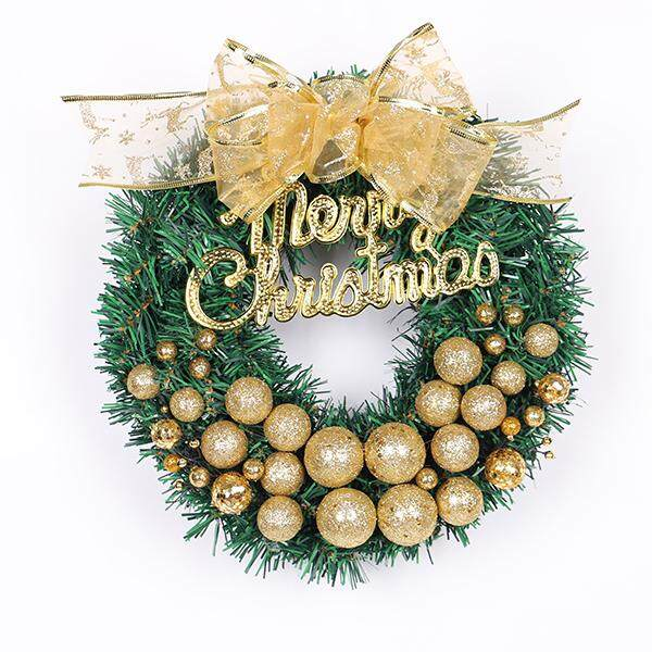30CM Christmas wreaths Christmas stores decorated with red gold wreaths # Gold