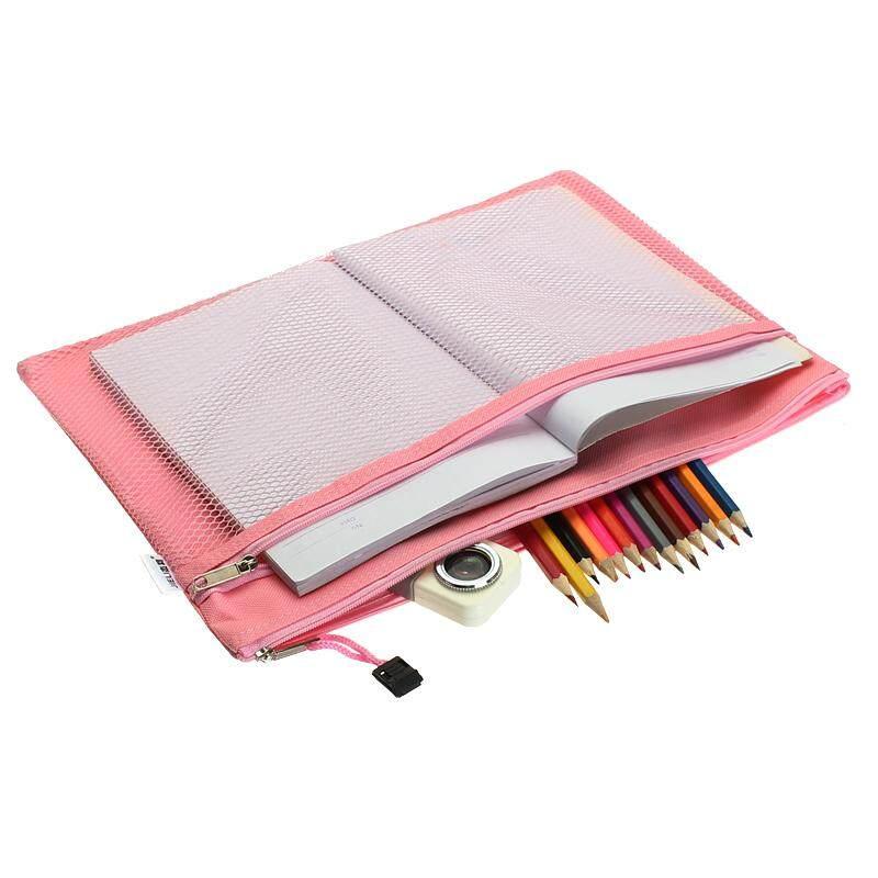 Mua Nhiều màu sắc 2 Lớp vải Dây Kéo Giấy Tập Tin Thư Mục Sách Bút Chì Bút Túi Tập Tin Túi Tài Liệu Màu Hồng-intl