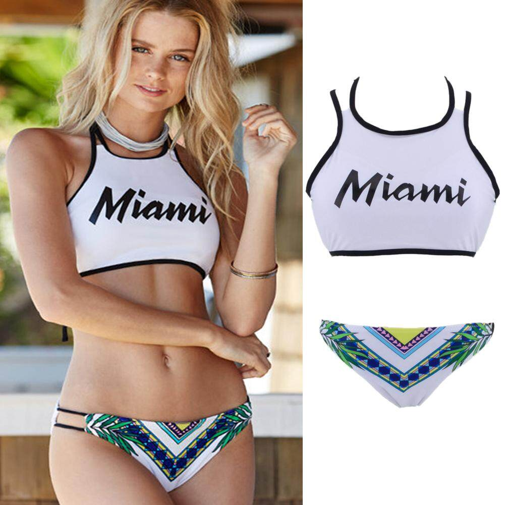 bd8125d31e Women Bikini Set Letters Print Halter Tie Backless Padded Two Pieces  Swimsuit Swimwear - intl