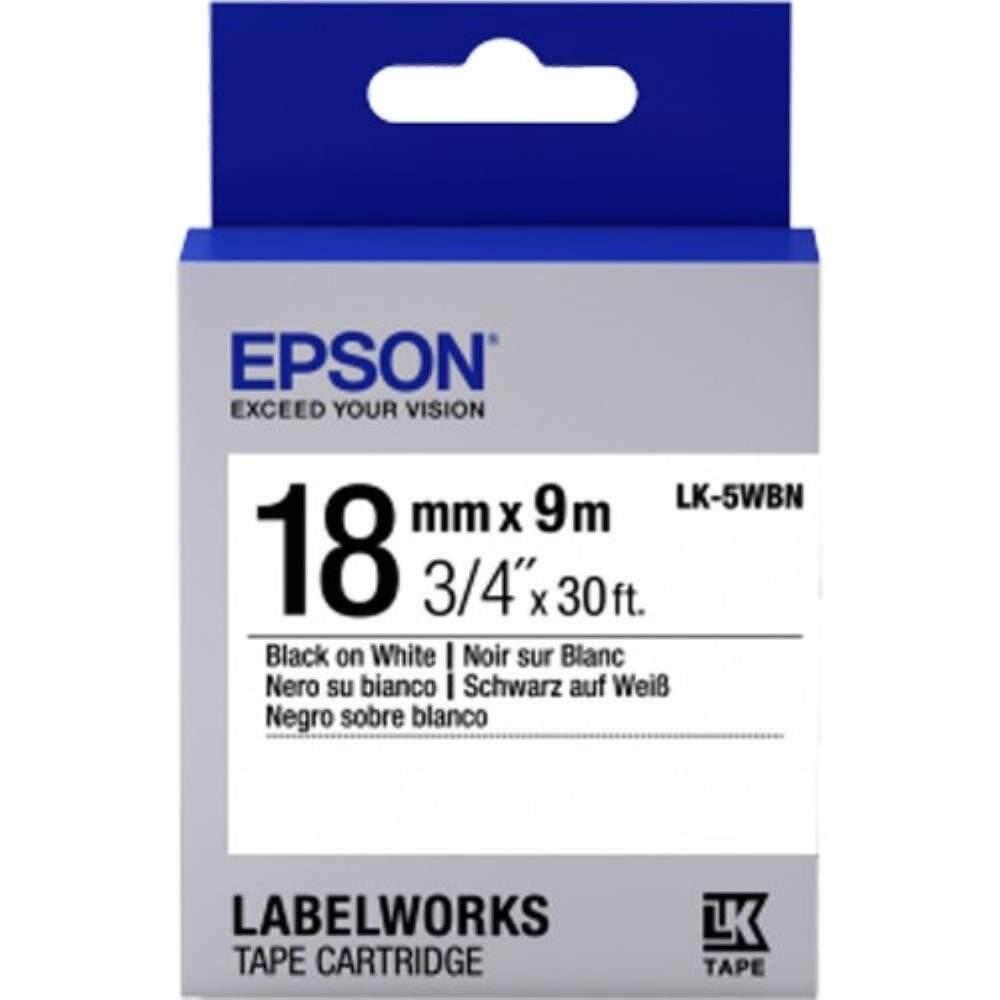 Epson LK-5WBN LabelWorks Tape - 18mm Black on White Tape (Item no: EPS LK-5WBN)