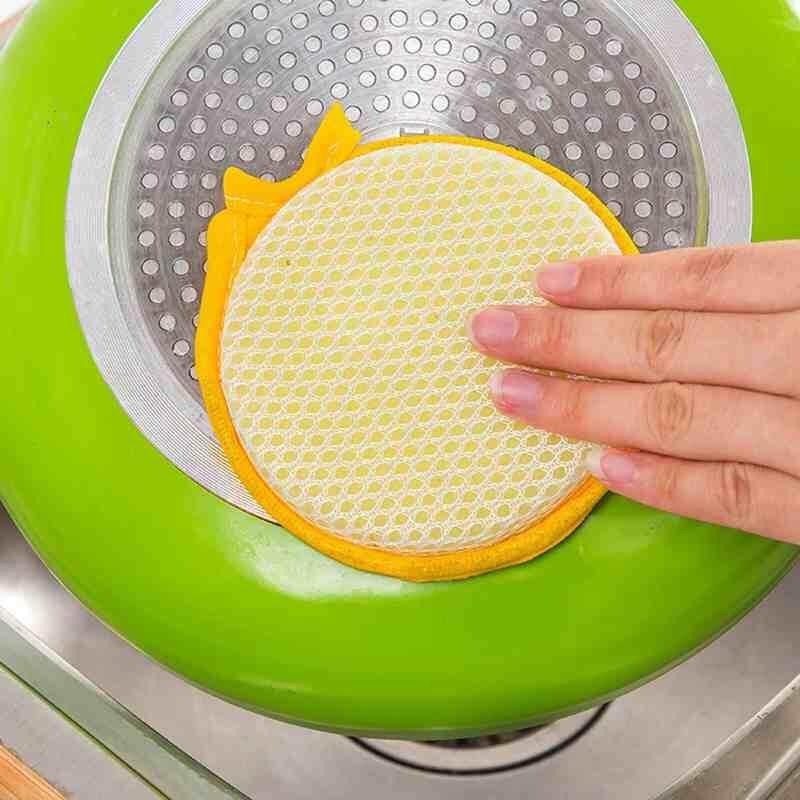 Hình ảnh Wilk Round Shape Double-sided Dish Washing Sponge Cleaning DishWashing Towels Kitchen Tool - intl