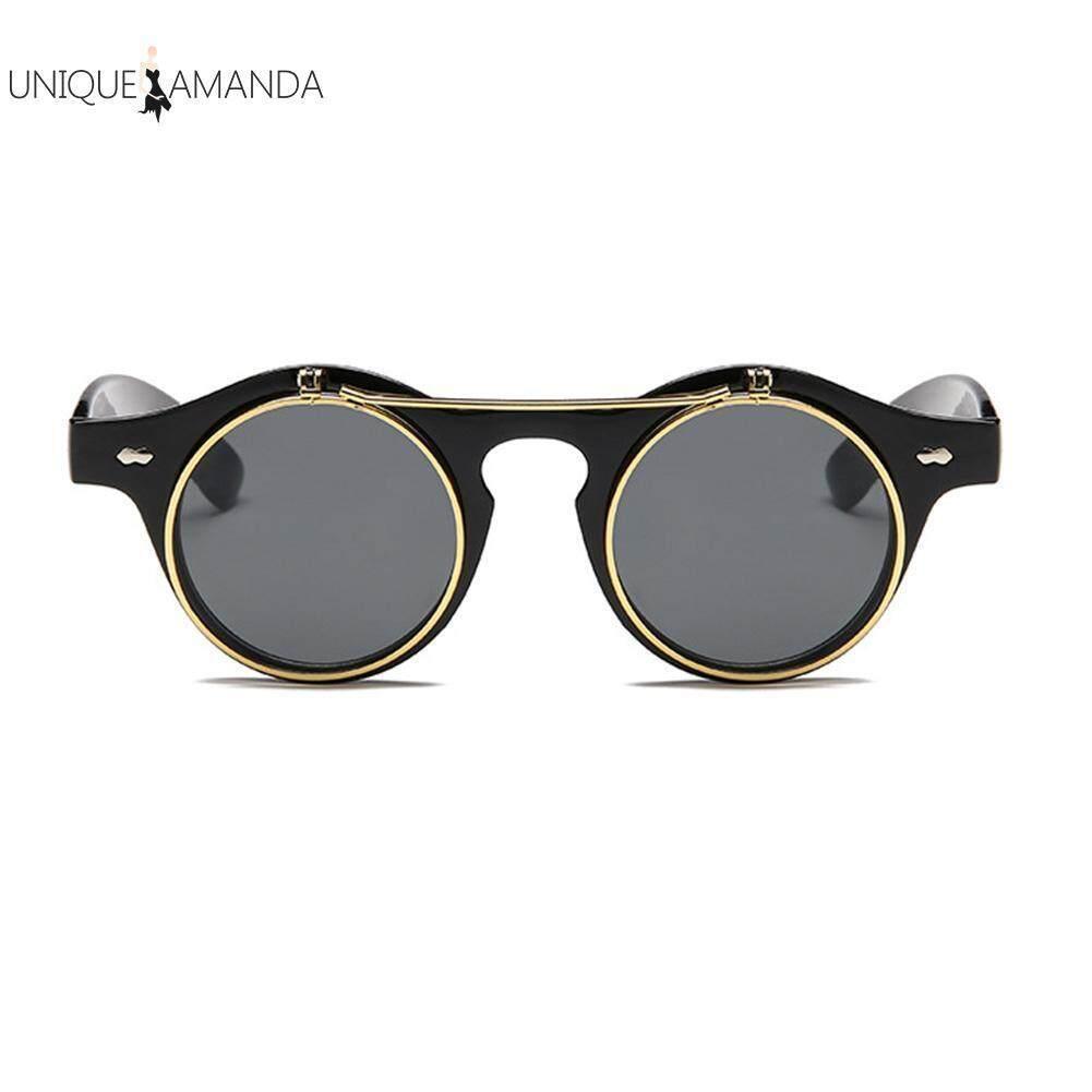 Fitur Antik Steampunk Kacamata Olahraga Goth Retro Lipat Hingga Logam Bulat Kecil Sampai Hitam Uniseks Internasional