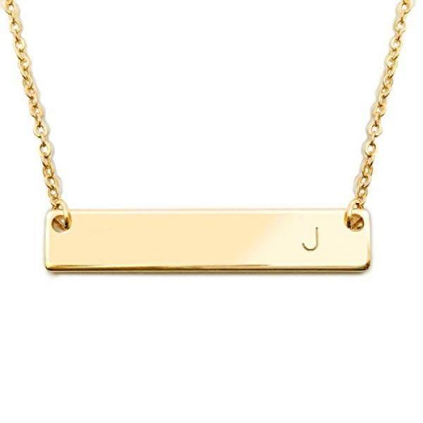 18 K Gold Berlapis Initial Bar Kalung Hari Ibu Wisuda Hadiah 17.5 Inch Bar Yang Dipersonalisasi Kalung (J) -Internasional