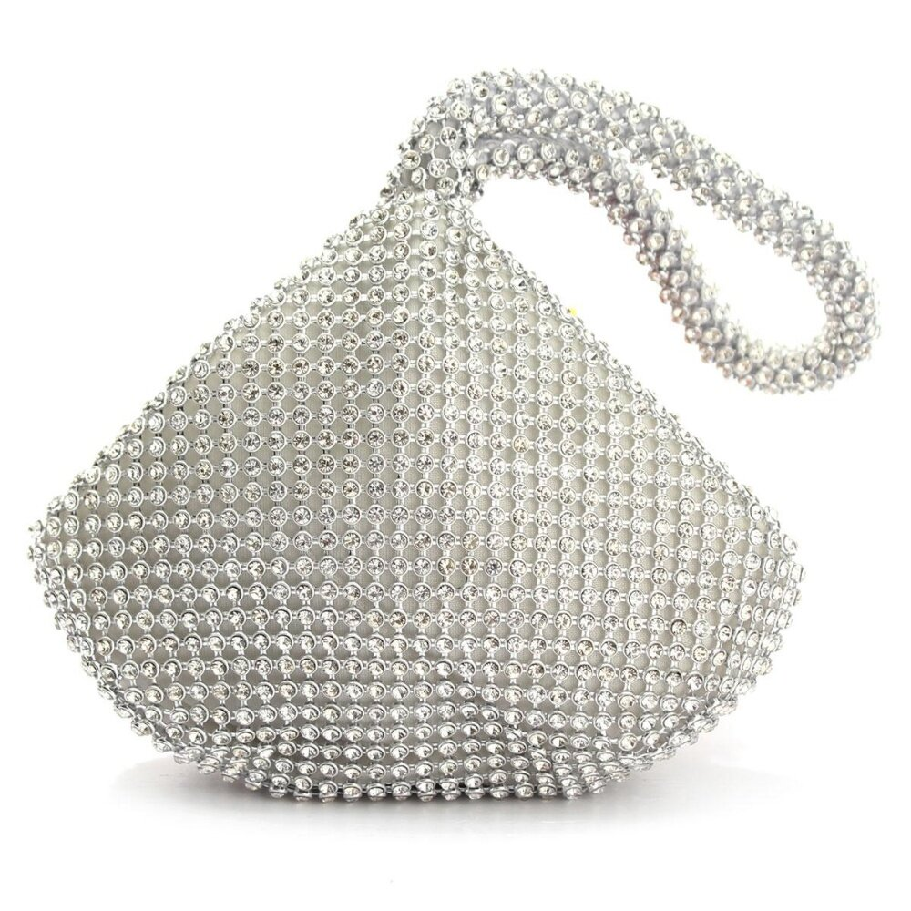 Triangle Full Rhinestones Women's Evening Clutch Bag Party Prom Wedding Purse Silver