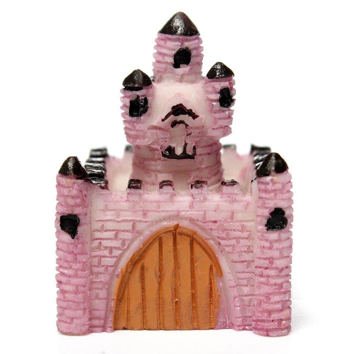 Miniature Resin Villa House Dollhouse Garden Fairy Ornament Pot Plant Craft Home Decor Light Pink - intl