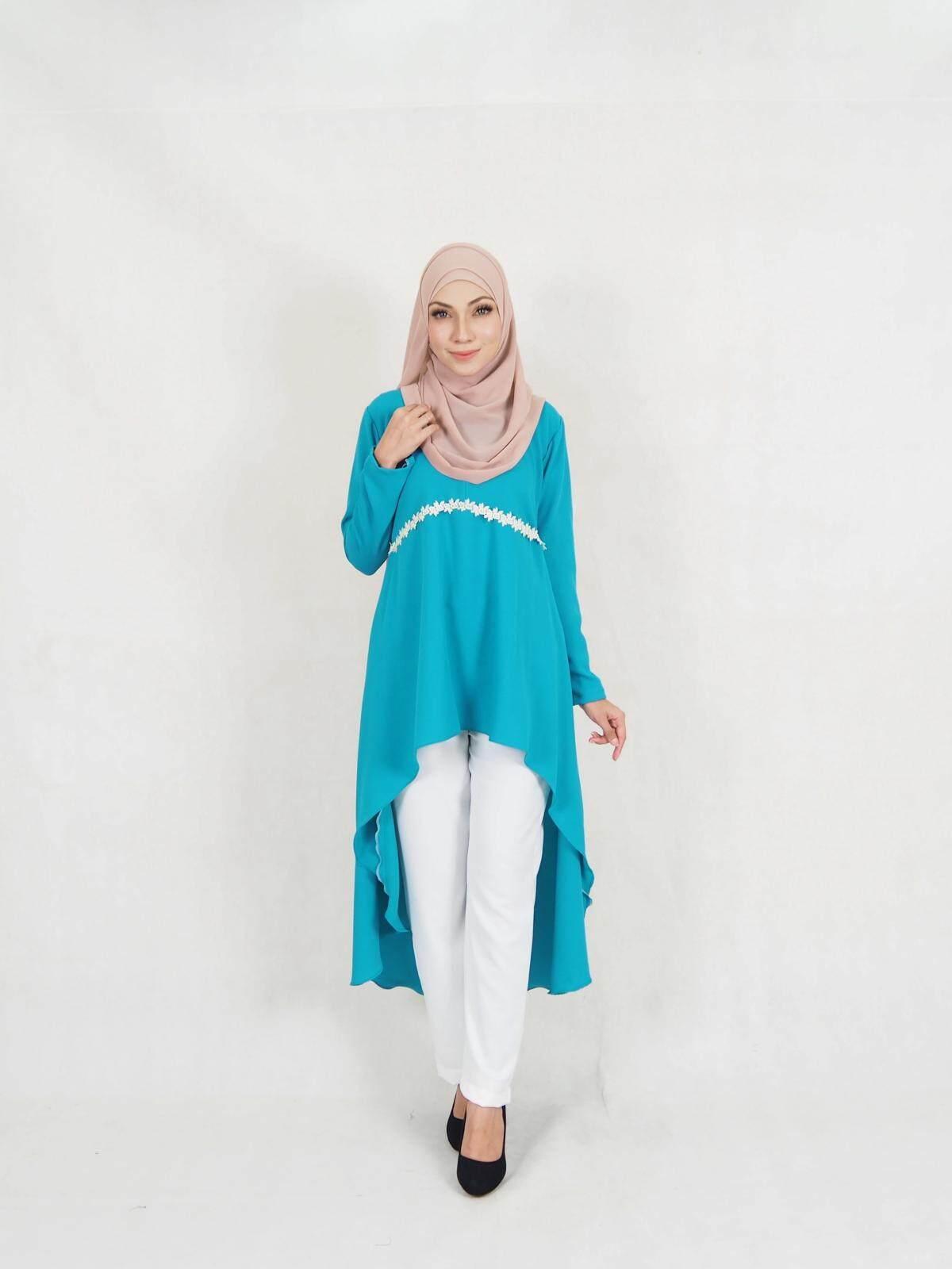 Muslimah Women Fashion Flowe Fishtail Blouse and Pant Set Plus Size / Kylie Flower Fishtail Set Blouse + Palazzo Pant (XXL-5XL) / Fishtail Blouse n Pant Set Moden Baju Raya 2019