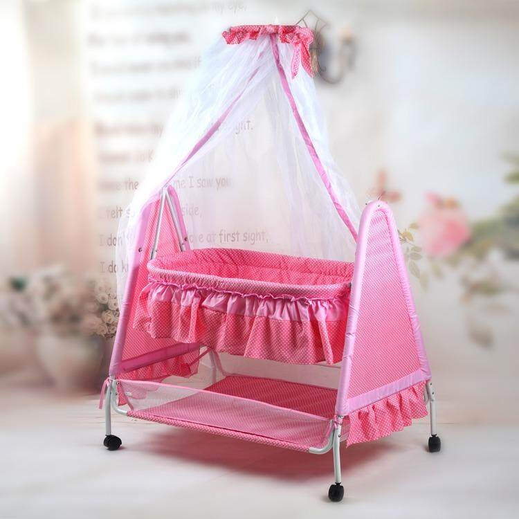 Rocking bed baby cradle bed newborn swing (PINK)