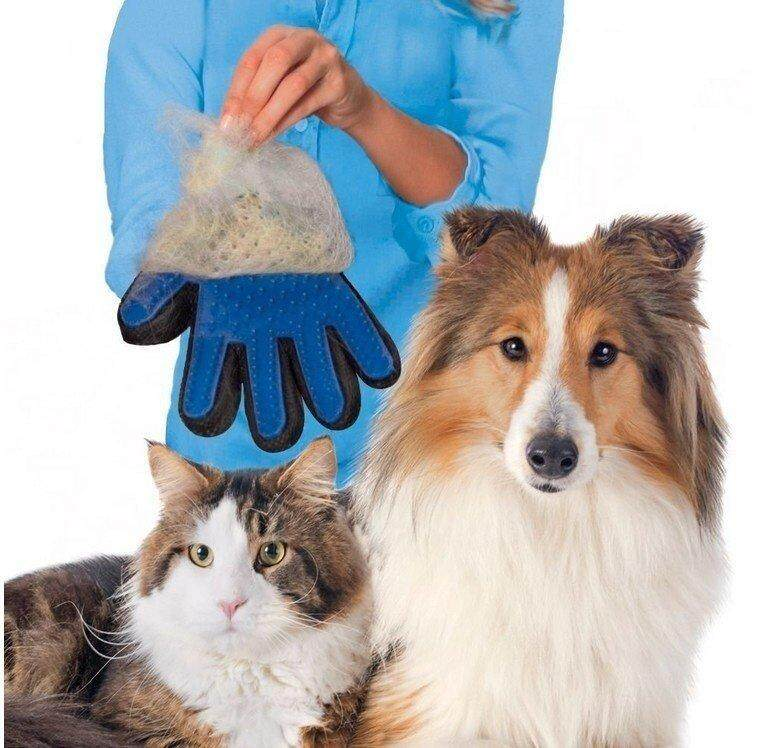 True Sentuh Sarung Tangan Anjing Peliharaan Kucing Perawatan Deshedding  Rambut Penghilang Bulu Penggosok Bulu Kucing 8f6a5ed0e1