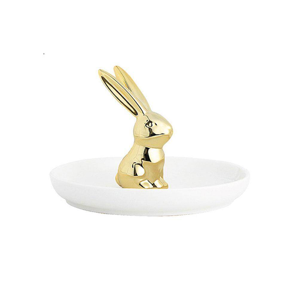 YUESHUNBUHA Rabbit/Bunny Small Jewelry Trays Display Rings Bracelets Earrings Necklace Holder Organizer Makeup Desk Decoration