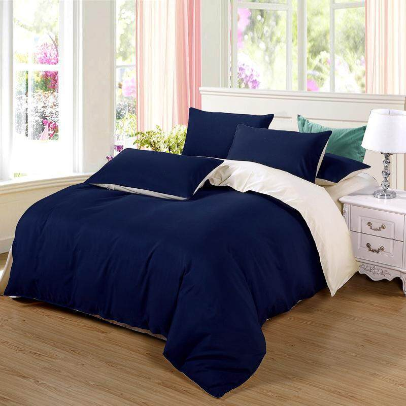4 In 1 Home Queen/Full/King Fitted Bedding Set Solid Color Bed Protector