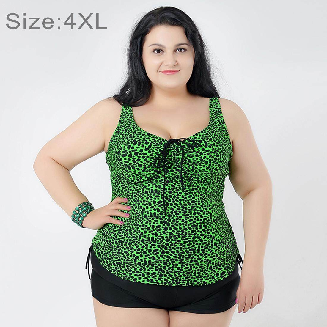 Mengumpulkan Dada Baju Renang Dua Potong Memisahkan Gaun & Celana Boxer Celana Pendek Bunga Cetak Berukuran Lebih Swimsuits untuk Wanita Gemuk, ukuran: 4XL (Hijau)-Internasional