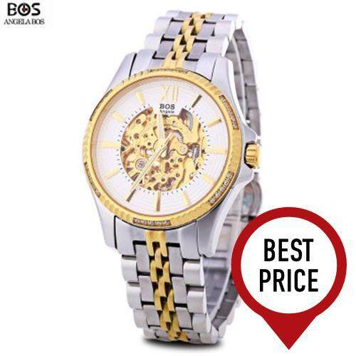 ANGELA BOS 9010G MEN AUTOMATIC WIND MECHANICAL WATCH 3ATM LUMINOUS POINTER ROMAN NUMERALS DISPLAY WRISTWATCH (WHITE AND GOLDEN)