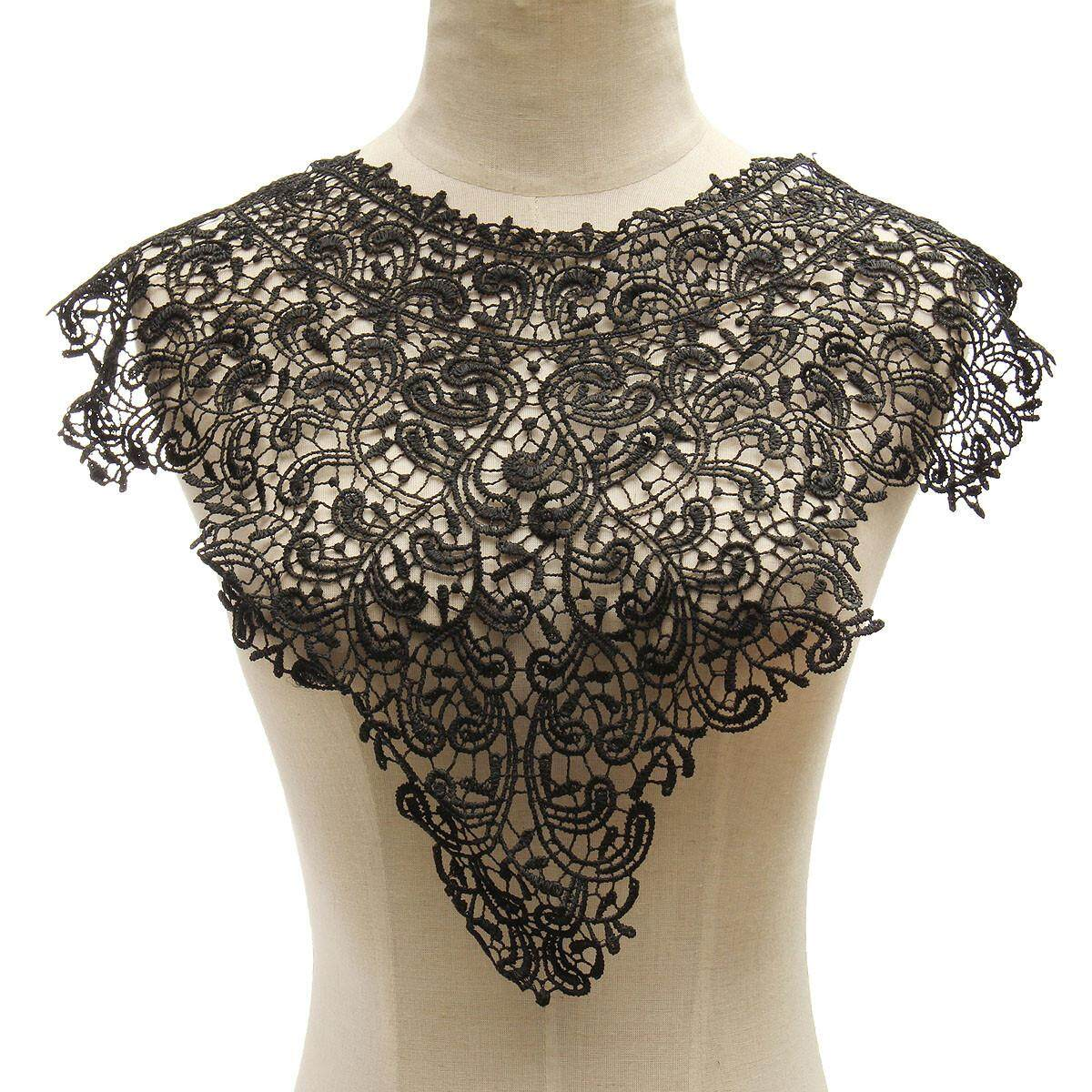 Fashion Women Trendy Floral Bodice Collar Lace Venice Venise Applique Motif Black By Moonbeam.