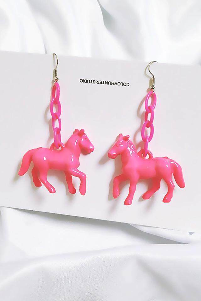 Kepribadian Berlebihan Lucu Permen Berwarna Pony Anting Panjang Fringe Anting Wanita Manis Akrilik Telinga Aksesori (Mawar Merah) -Internasional