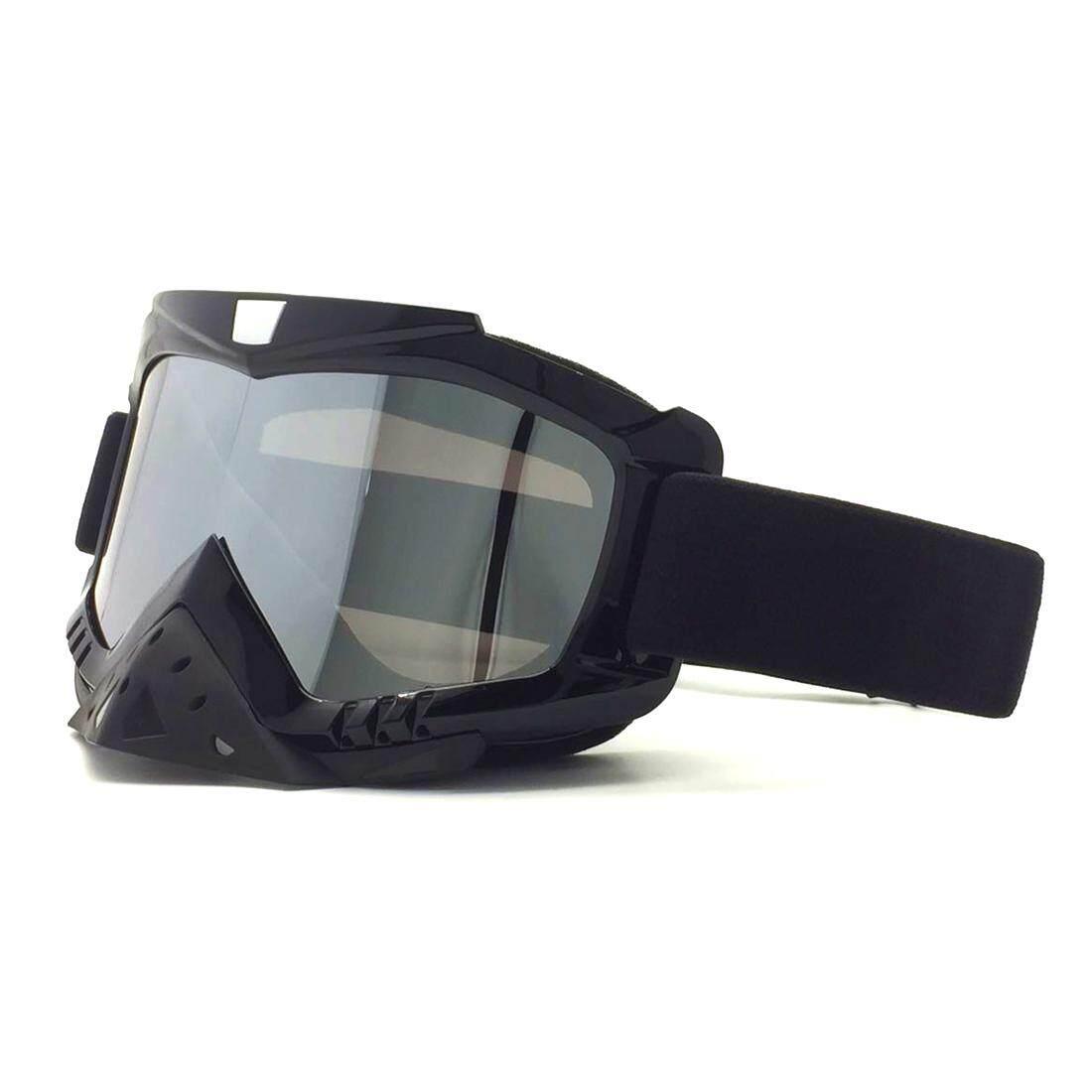360 Wish Sepeda Motor Luar Jalan Helm Bersepeda Kacamata Tahan Angin Pelindung Mata Kacamata Hitam Ski Terang Hitam Bingkai + Perak Piringan Lensa-Intl