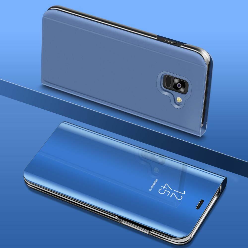 Untuk Samsung Galaksi A8 Plus 2018 Mewah Pelapisan Spion Pintar Lipat Sarung Bening Transparan Selubung untuk Samsung A8 plus PU Kulit Perumahan Telepon-Internasional