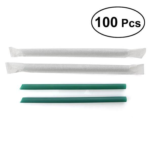 Hình ảnh 100Pcs Big Non-transparent Disposable Plastic Thick Drinking Straws Mason Jar Straws for Party or Home Use (Dark Green)