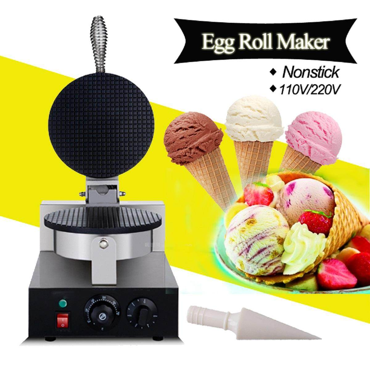 Pembuat Waffle Oxone Maker Ox831 B Electric Commercial Nonstick Ice Cream Cone Egg Roll Machine 220v Us Plug Silver