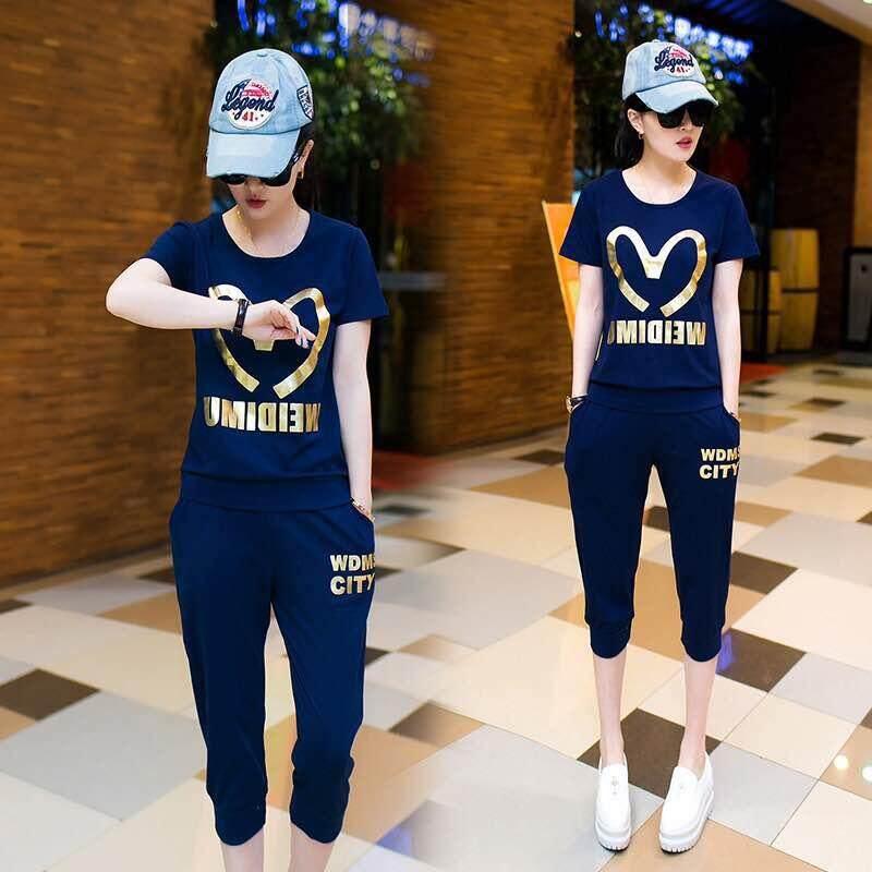 (Pre Order 14 days) JYS Fashion Korean Style Women Sport Wear Set Collection 540 - 8584 Dark Blue