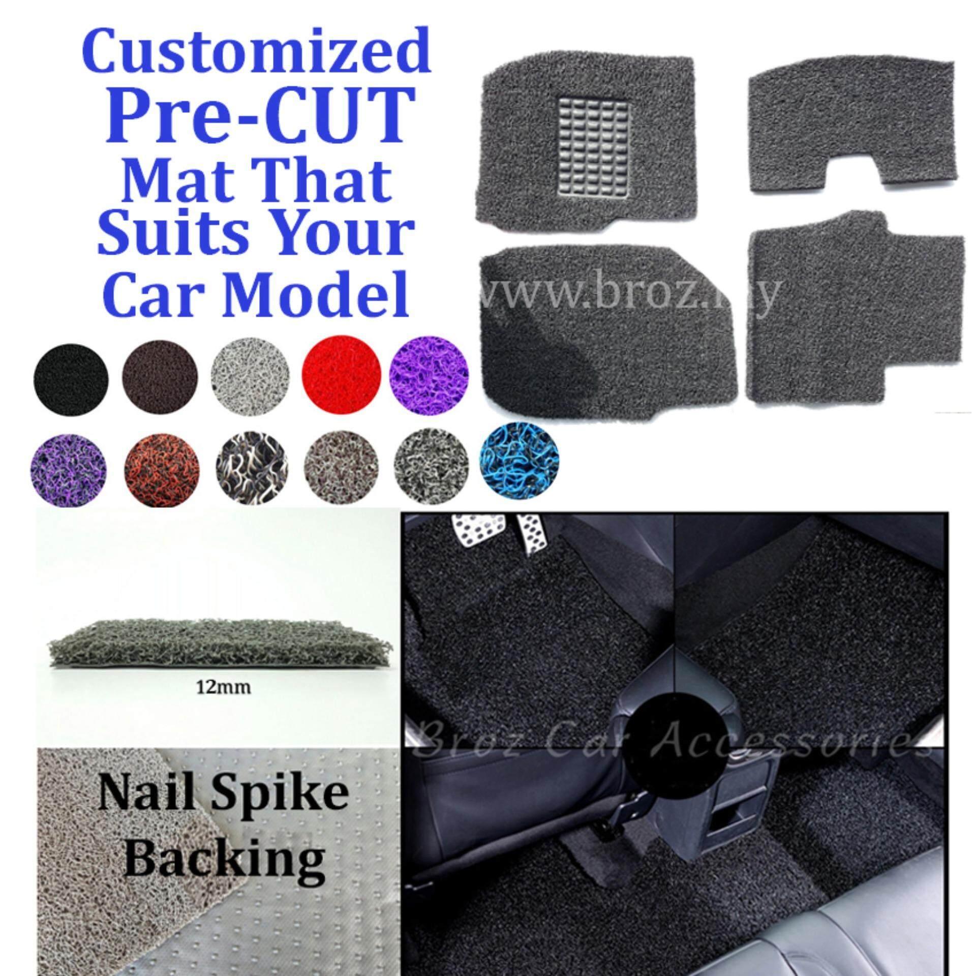 Broz Mercedes E-200 12MM Customized PRE CUT PVC Coil Floor Mat with Driver Rubber Pad Anti Slip Carpet Nail Spike Backing - Grey Black
