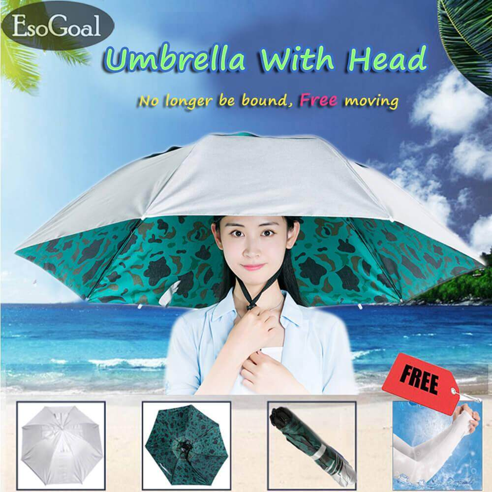 "Esogoal Hand Free Umbrella Hat Waterproof Elastic For Fishing Gardening 36""diameter Folding Headwear With Arm Sleeve - Intl By Esogoal."
