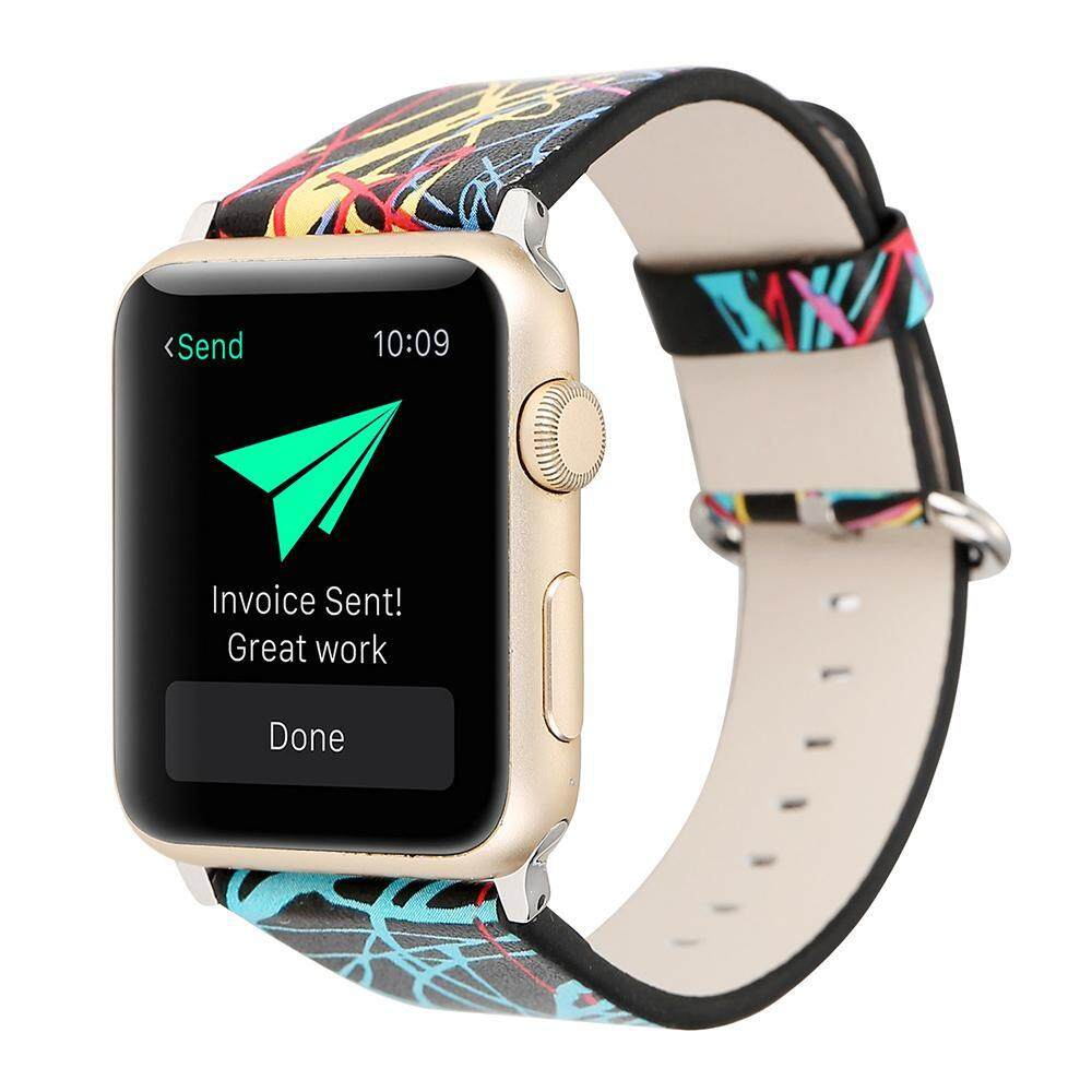 mingjue Watch Band 38mm, Premium PU Leather Strap Wrist Bands Replacement With Stainless Metal Clasp Watch Series 1 Series 2 - intl