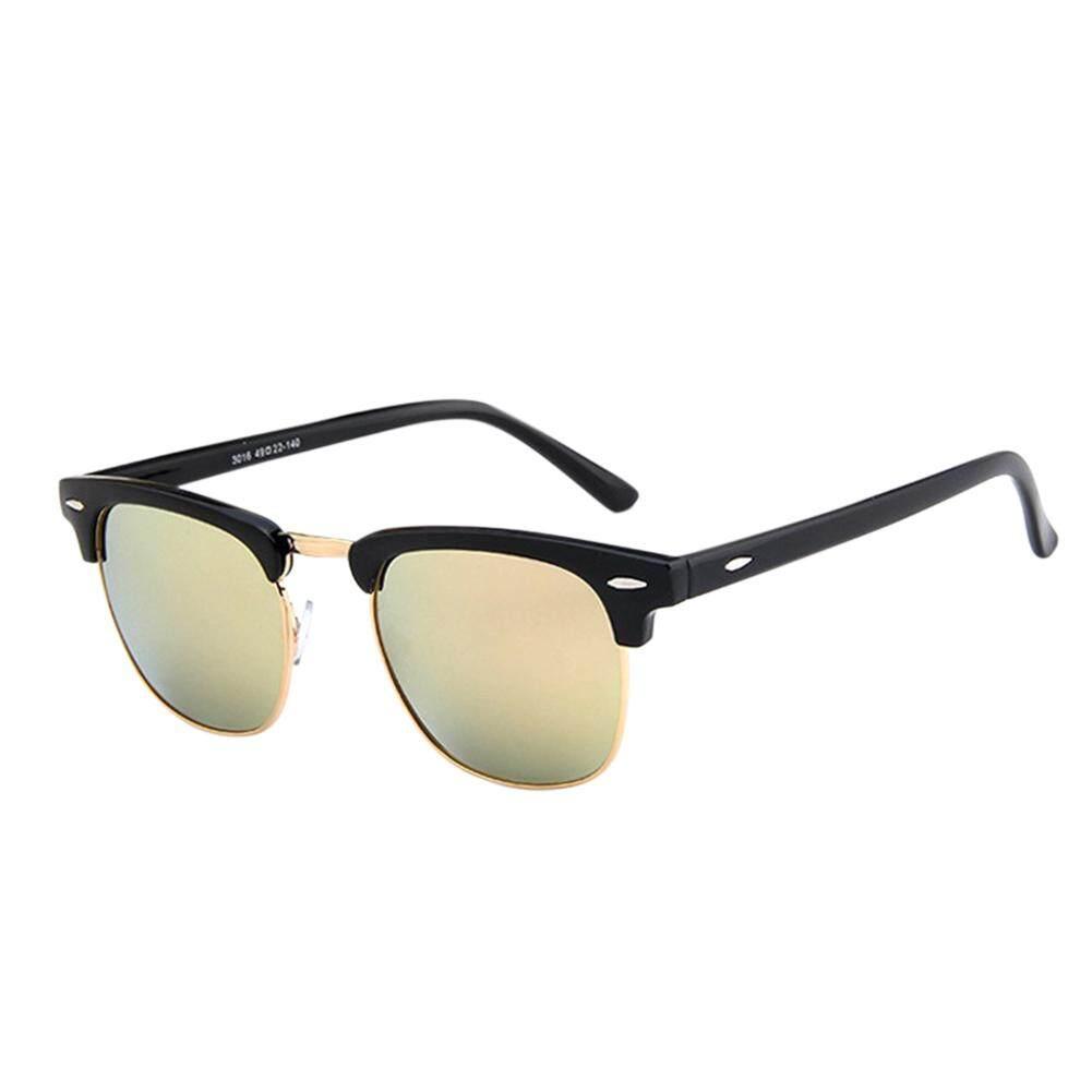 Dsstyles Retro Modis Setengah Bingkai HD Cermin Lensa Antik Kacamata Hitam  untuk Pria Wanita Warna Lensa 58534a66d4