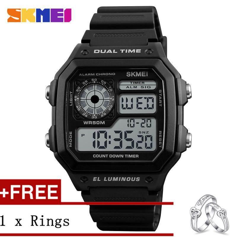 NanXiangZi SKMEI Fashion Sports Watches Men Waterproof Countdown Stainless Steel Watch Alarm Male Digital WristWatches 1229 + Free a Couple Rings