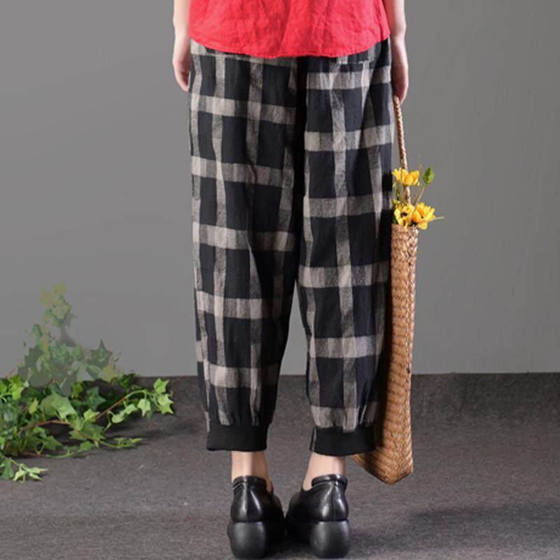 ... Zanzea Katun Linen Serut Kotak-kotak Celana Wanita Kantong Elastis Periksa Celana Hitam-Internasional ...