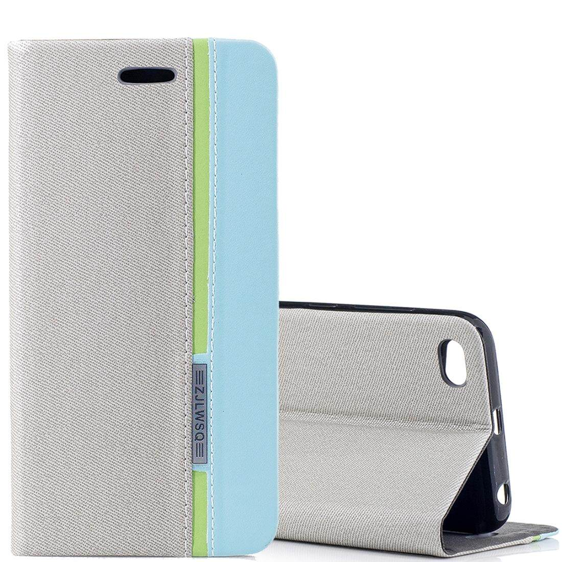 Xiaomi Redmi 5A Contrast Color Canvas Texture Horizontal Flip Leather Case with Holder and Card Slot
