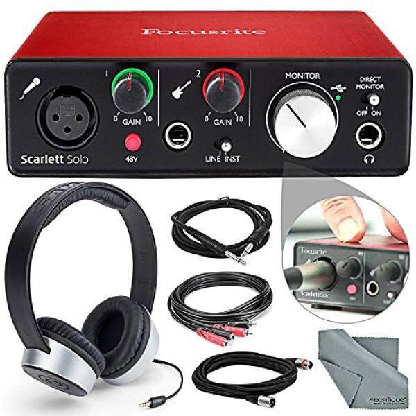 Focusrite Scarlett Solo USB Audio Interface(2nd Generation) Deluxe Bundle W/ Headphones + Cables, and FiberTique Cleaning cloth - intl