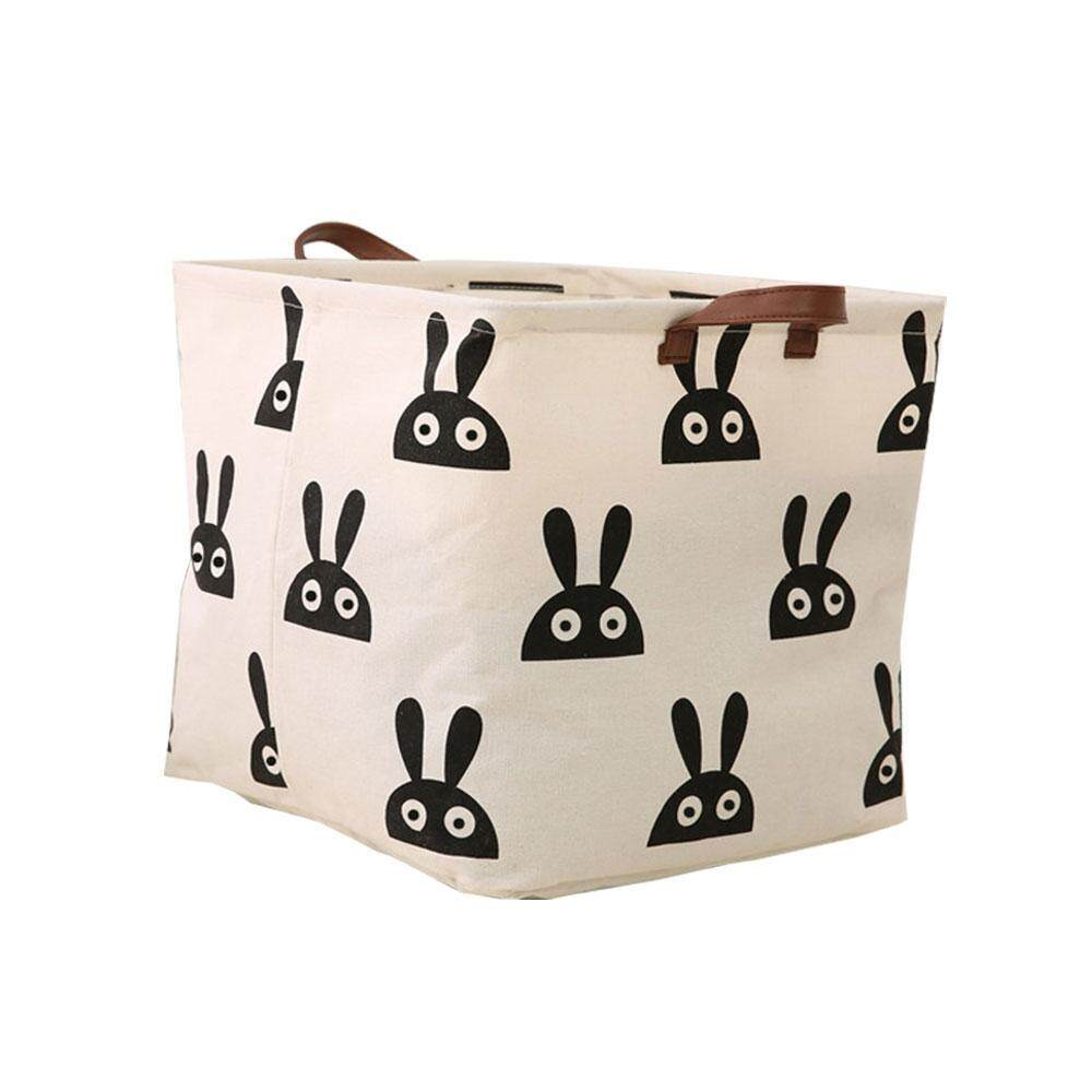 huohu Canvas Foldable Storage Bins Aolvo Collapsible Laundry Basket Canvas Bucket Toys Cloth Book Sundries Organizer Storage Basket - intl