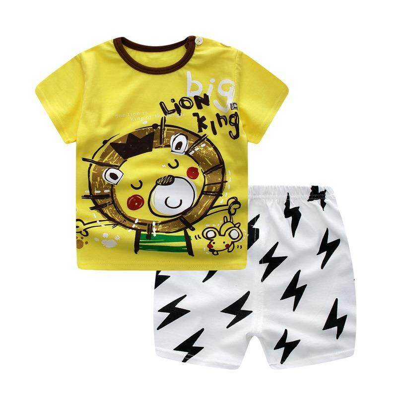 2 pieces Summer Clothing Set Baby Boy Girl Clothes Kids Short Sleeve+Pant Shirt -