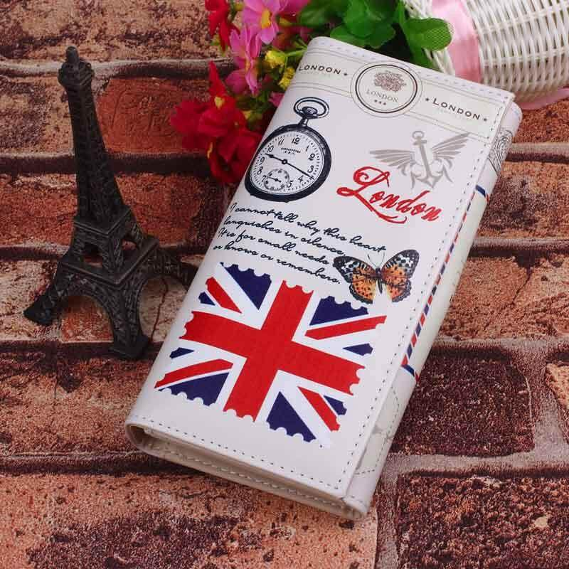 Women Lady Long Design Purse Clutch Wallet Printing Bag Card Case National Flag M Word - Rice