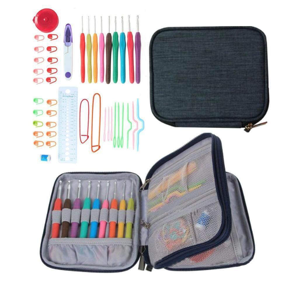 nonof 45pcs Soft TPR Handle Aluminum Hook Crocheting Kit Knitting Tools Accessories With Black Case, Unique Gift