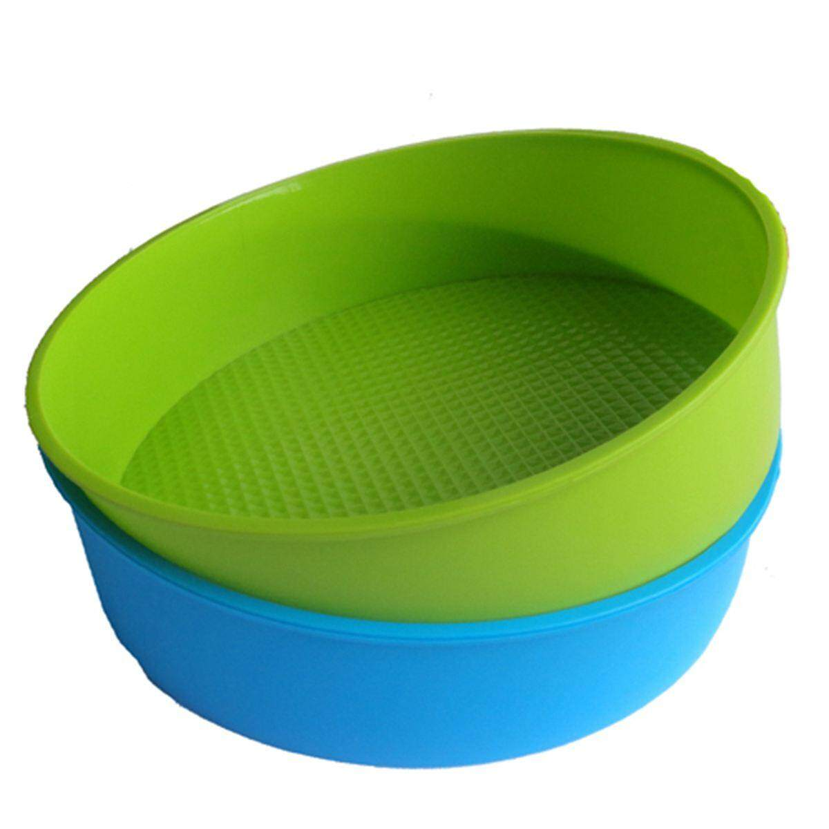 Silicone Mould Bakeware 26cm/10inch Round Cake Form Baking Pan Blue and green colors are