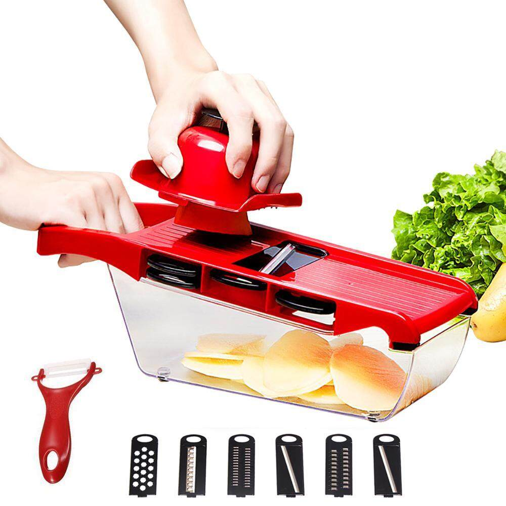 Review Womdee A Set Of 9 Mandoline Slicer Vegetable Cutter Grater Chopper Julienne Slicer 6 Interchangeable Blades With Peeler Hand Protector Food Storage Container Cutter For Potato Tomato Onion Cheese Cucumber Etc Intl China