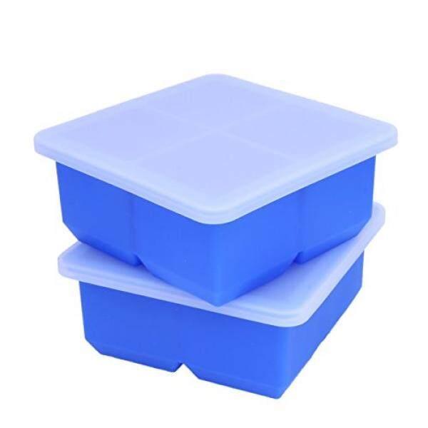 Bella Menakjubkan Lidded Es Cube Trays, Set dari 2 Besar Persegi Es Cube Trays Cetakan dengan Penutup. Buat 2 Inch Es Batu Bagus untuk Semangat, Smoothies, dan Banyak Lagi. Stackable Cocok untuk Kecil Pembeku. (Biru)-Internasional