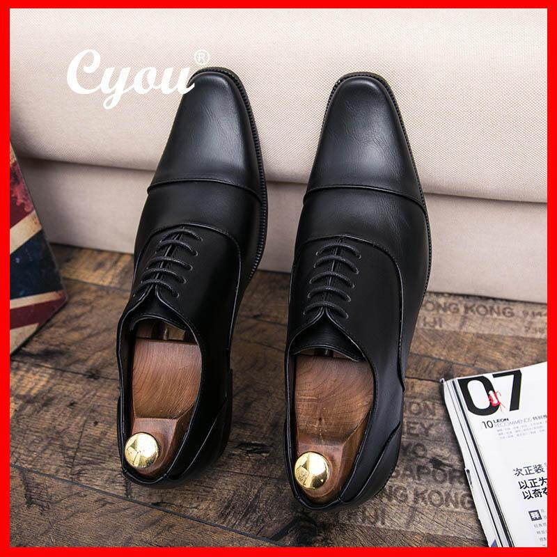 Get The Best Price For Cyou Luxury Brand Genuine Leather Fashion Men Business Dress Loafers Pointy Black Shoes Oxford Breathable Formal Wedding Shoes Kasut Lelaki Intl