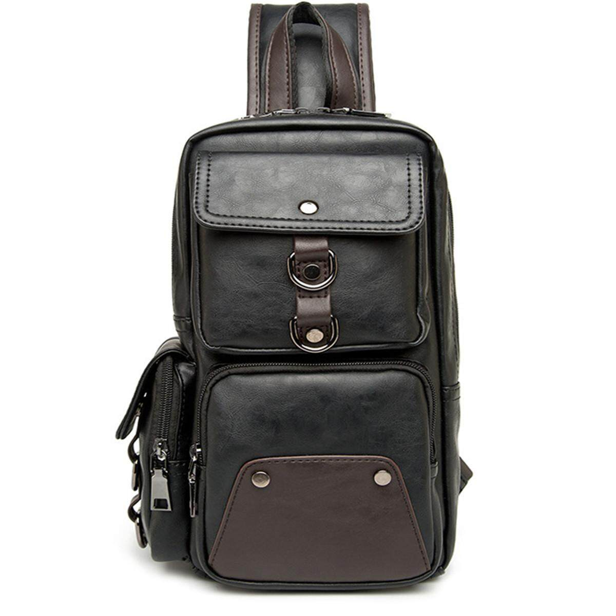 4afaa9158d10 Fashion Men Leather Shoulder Chest Bag Waist Messenger Sling Crossbody Day  Pack