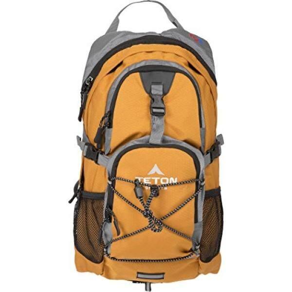 Teton Olahraga Oasis 1100 ITER Hydration Ransel Sempurna untuk Bermain Ski, Berlari, Bersepeda, Bersepeda, Daki Gunung, pendakian, dan Berburu; Air Bladder Disertakan; Sarung Hujan Gratis Termasuk; Oranye-Internasional