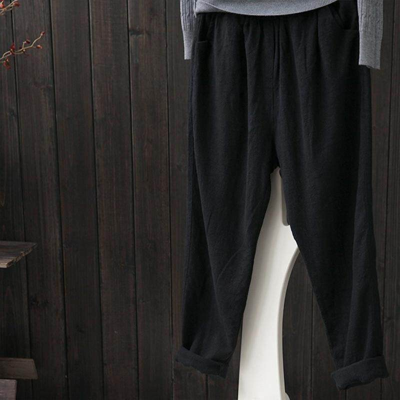 Buy Zanzea Women Solid Basic Trousers Loose Plus Size High Waist Cotton Pants Black Intl Zanzea Original