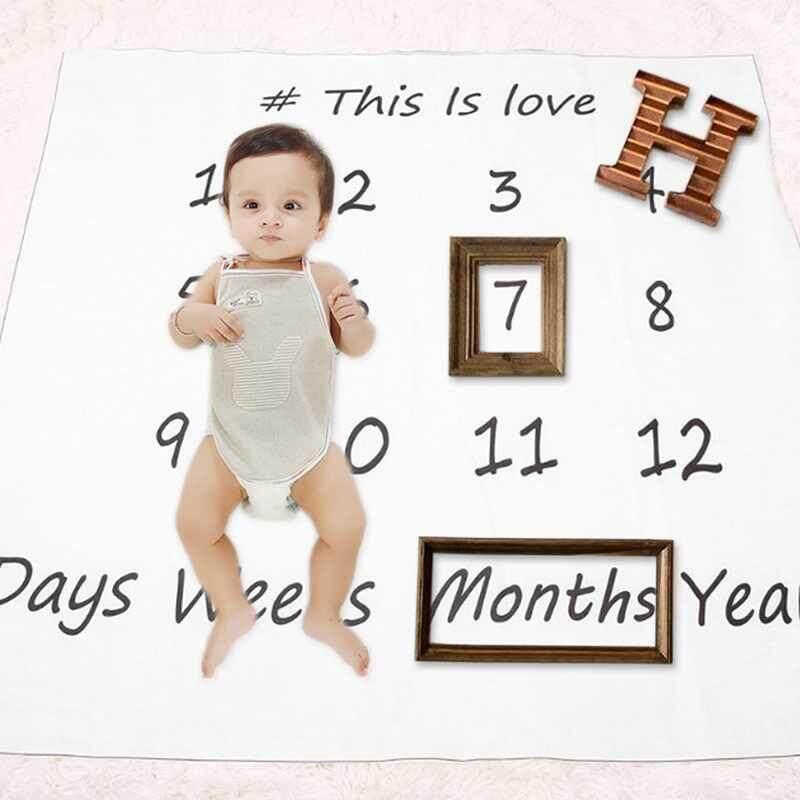 Wilk 100*100 Cm Unik Swaddle Bayi Kapas Selimut Milestone Bulanan Bayi Bayi untuk Bayi-Internasional