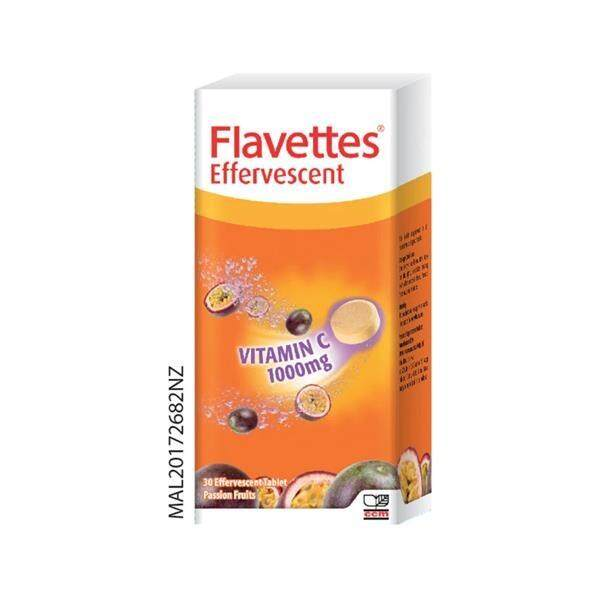 Flavettes Effervescent Vitamin C 1000mg 30s (Passion Fruit)