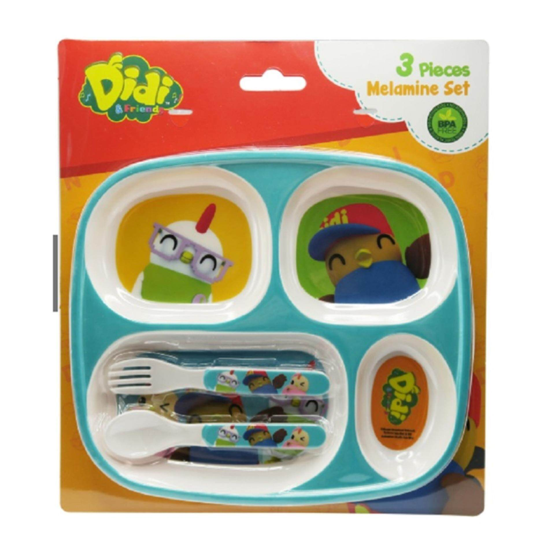Didi & Friends Divided Plate With Fork & Spoon - Green Colour