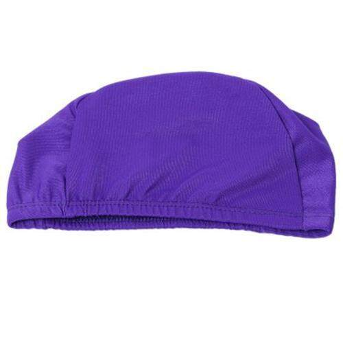 ELASTIC WATERPROOF NYLON PROTECT EARS LONG HAIR SWIMMING CAP FOR MEN WOMEN (PURPLE)
