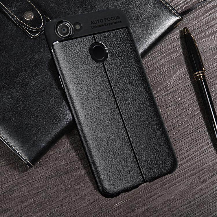 Untuk OPPO F5 Case Litchi Striae Lembut TPU Silikon PU Kulit Sampul Belakang Case