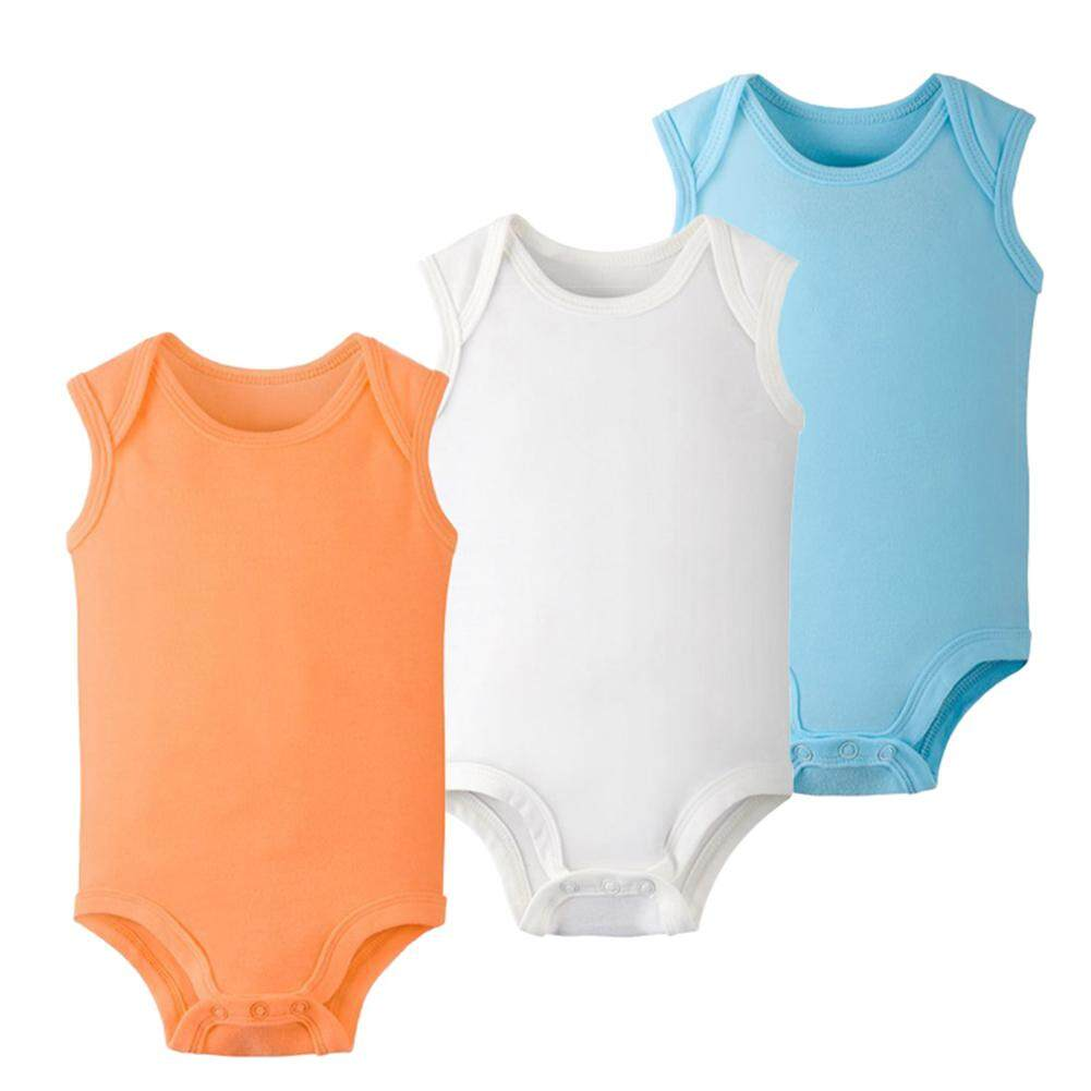 Rd 3pcs Baby Candy Colour Cotton Sleeveless Triangle Romper Stylish Jumpsuits Gift By Redcolourful.
