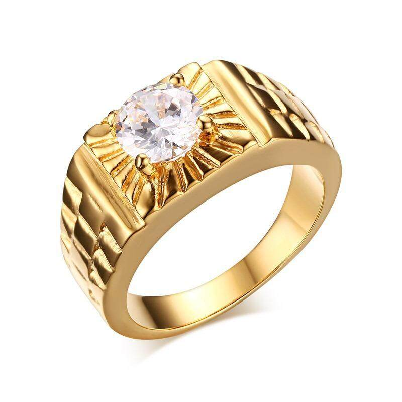 Men's Stainless Steel Gold Plated Promise Ring Cubic Zirconia CZ Band Gold Size 7-11